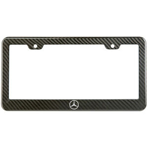 Mercedes Benz Logo License Plate Frame Carbon Fiber Look Style Glossy Plastic