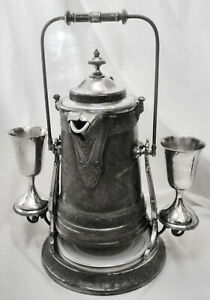 Atq Reed Barton 1867 Slv Plated Tilting Water Pitcher W Stand 2towle Goblets