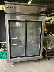 Victory 2 Door Glass Sliding Door Refrigerator Cooler Merchandiser Used