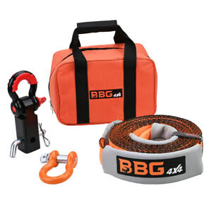 Bbg4x4 Recovery Tow Strap Recovery Kit Strap 30 Ft Hitch Receiver Shackle