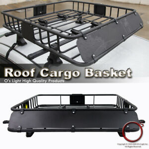 Roof Top Cargo Rack Travel Luggage Storage Basket Crossbar Mount Fit Jeep