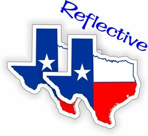 2 Reflective Hard Hat Stickers | TEXAS FLAGS | Decals Motorcycle Toolbox Helmet
