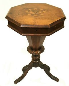 C 1840 60 S Continental Walnut Trumpet Sewing Table With Inlay
