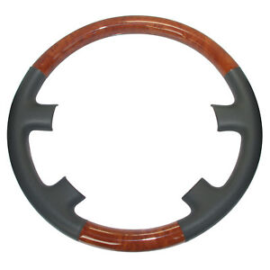 Gray Leather Wood Steering Wheel Cover For 98 02 Land Cruiser Lx Lx470 450 Ls400