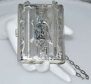 Antique Sterling Silver Victorian Coin Card Purse
