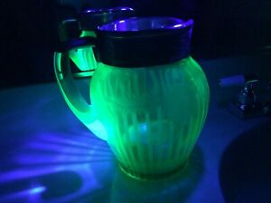 Antique Uranium Glass Etched Pitcher Silver Overlay Mint With Music Box