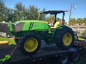 2015 John Deere 5085e Tractor Flat Bed Trailer And Attachments
