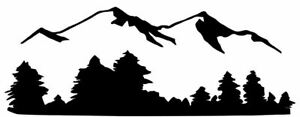 Die Cut Vinyl Decal Mountain Forest Scene Country 20 Colors Car Truck 173