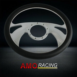 Chrome Billet Aluminum 9 Hole 14 Inch Steering Wheel With Half Wrap