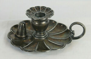 Antique English Silver Plated Chamber Candle Holder James Dixon