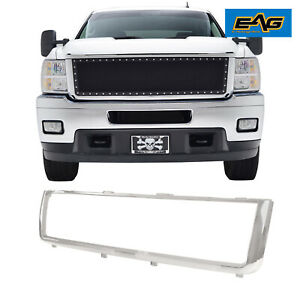 Eag Front Grille Shell Chrome Abs Plastic Fit For 2011 2014 Chevy Silverado Hd