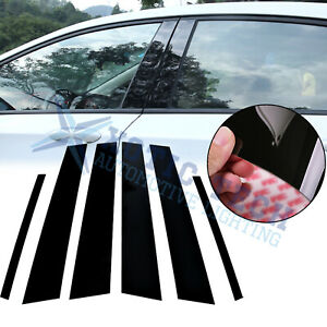 6pcs Black Window Pillar Posts Molding Cover Trims For Toyota Corolla 2009 2013