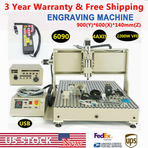 Usb 4 Axis Cnc 6090 Router Engraver 3d Carving Milling Machine 2200w Handwheel