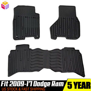 Heavy Duty Rubber Weatherbeater Floor Mat Set Fit 09 17 Dodge Ram Truck Crew Cab
