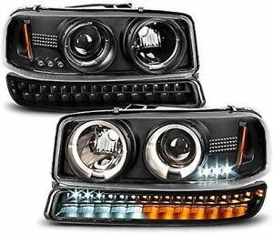 New Black Halo Projector Headlight Pair For 1999 2006 Gmc Sierra 1500 2500hd 350