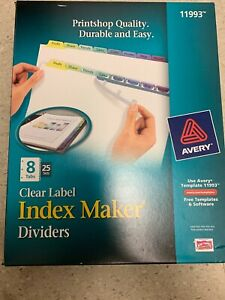 Avery Print Apply Clear Label Dividers W color Tabs 8 tab Le 072782119935