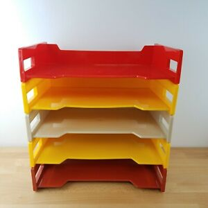 5 Vintage 70s Plastic Stacking Paper Trays Orange Brown yellow funky Retro