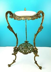 Antique Victorian Filigree Brass Marble Top 2 Tier Plant Fern Stand Table