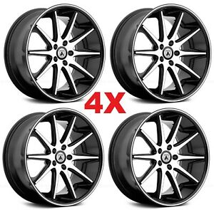 22 Black Wheels Rims 5x114 3 5x4 5 Asanti Lip