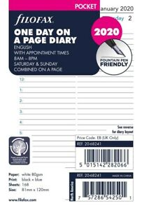 Filofax Pocket 2020 One Day On A Page Diary With Appointments Refill 20 68241 s