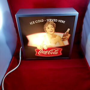 Coca Cola Double Sided Table Top Metal Light Box Plastic Panels Pin Up Girl