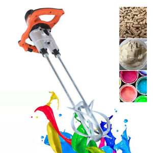 1800w Dual Paddle Electric Mortar Mixer Stirrer 2 Speed Paint Cement Grout 110v