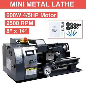 Digital Mini Metal Lathe Metalworking Diy Processing Variable Speed 8x14 Bench