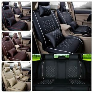 Full Set Car Seat Covers Pu Leather 5 Seats Front Rear For Toyota Camry Corolla