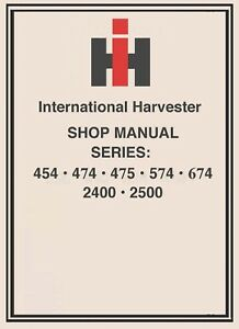 674 International Harvester Ih Technical Service Shop Repair Manual Farmall Cd