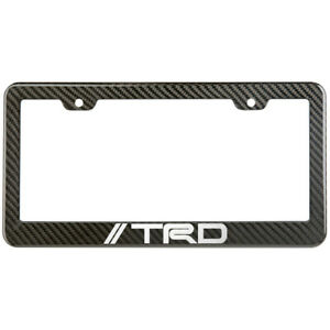 Trd License Plate Frame Carbon Fiber Look Glossy Plastic