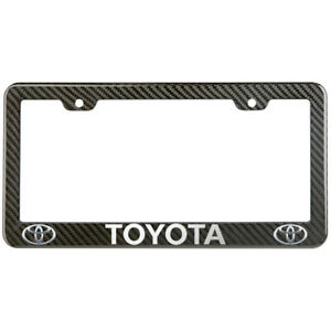 Toyota License Plate Frame Carbon Fiber Look Glossy Plastic
