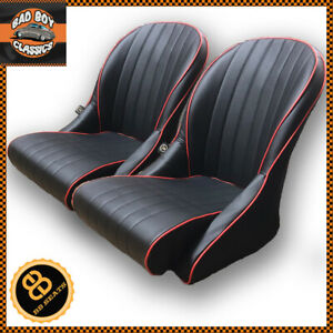 Pair Bb Vintage Classic Car Bucket Seats Black Red Piping Low Back Universal