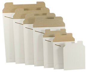 White Cardboard Cd dvd Mailers Envelope Stay Flat Rigid With Self Seal Flap