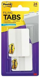Post it Durable Tabs 2 Wide Solid White 24 Tabs pack 686 24we 867132