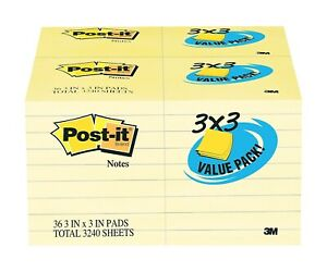 Post it Notes 3 X 3 Canary Yellow 90 Sheets pad 788906