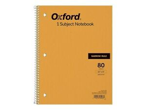 Oxford 1 subject Notebook 8 X 10 Narrow Ruled 80 Sheets 801050