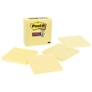 Post it Super Sticky Notes 4 X 4 Canary Yellow 4 Pads pack 675 4sscy 667403