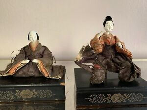 Japanese Antique Imperial Palace Doll Emperor Empress Edo Period