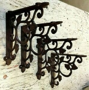 Set Of 4 Leaf Vine Wall Shelf Bracket Antique Style Brace Rustic Brown Corbel