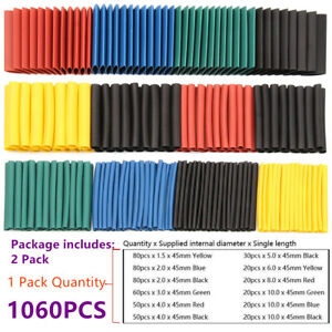 1060pcs Heat Shrink Tubing Insulation Shrinkable Tube 2 1 Wire Cable Sleeve Set