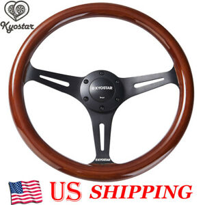 350mm Kyostar 14inch Wood Grain Trim Chrome Spoke Classic Wooden Steering Wheel