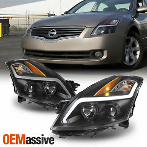 For 07 09 Nissan Altima 4door Led Light Tube Projector Headlight Black Housing