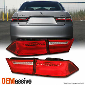 For 2004 2008 Acura Tsx Led Light Tube Tail Lights Pair Housing red Clear Lens