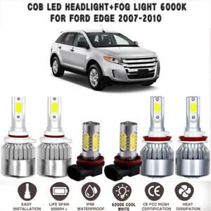 6x Cob Led Headlight Hi Lo Fog Light 6000k White Set For Ford Edge 2007 2010