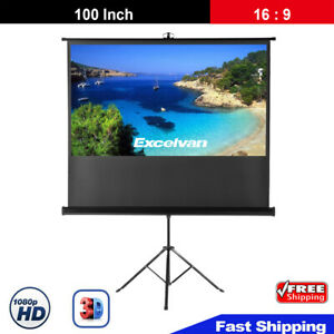 100 16 9 Projector Screen Portable Indoor Outdoor Projection With Stand Tripod