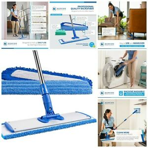 Microfiber Flat Mop Extended Handle With 2 Wet Pads Dust Pad And Cleaning Cloths