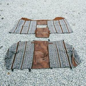Nos Brown Saddle Blanket 3 Pc Truck Bench Seat W Molded Headrests And Foldout Co