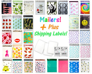 100 Pack 50 10x13 Flat Poly Mailers 50 8 5x11 Blank Shipping Labels Combo