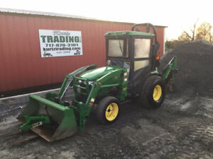 2014 John Deere 2520 4x4 Hydro Compact Tractor Loader Backhoe W Cab Only 600hrs