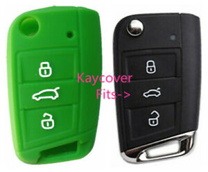 Green Silicone Car Flip Key Cover For Vw Volkswagen Mk7 Golf
